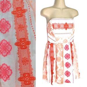Francesca's Alya Embroidered Strapless Dress Sz M